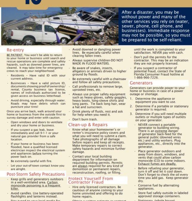 Disaster Preparation – Step 10 of 10