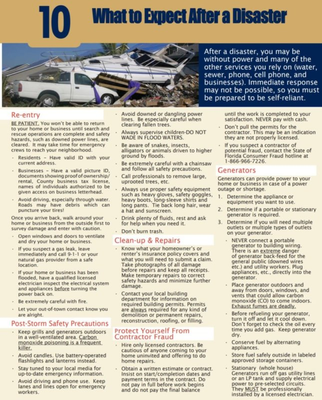 Disaster Preparedness - 10 After A Disaster