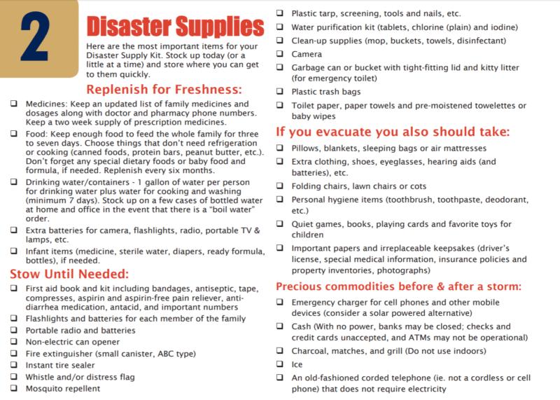 Disaster Preparedness - Stockpile Supplies